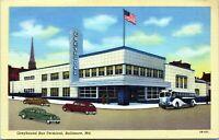 Baltimore Maryland Greyhound Bus Terminal 1930s Linen Postcard