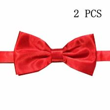 Hot Men's Bow tie Solid Color Bowtie NEW Bowties X 2pcs Red