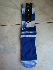 NWT STANCE LA Dodger Blue Tie Dye 558 classic Crew pique Socks Medium 6-8.5