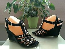 Ladies Miss Sixty black all leather gladiator strappy wedge sandals UK 6 EU 39