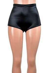 High-Waisted Black Stretch Satin Booty Shorts XS S M L XL 2XL 3XL plus size goth