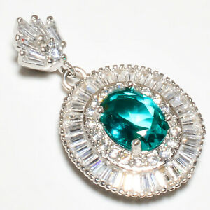 "Burmese Blue Topaz & White Topaz 925 Sterling Silver Pendant Jewelry 1.25"" W2419"