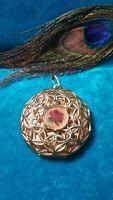 Vintage jewlery beautiful locket pendant filigree whit embroider Rose.  #717