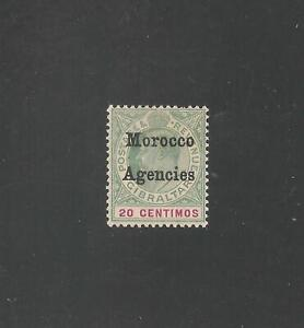 Great Britain Morocco #22 (SG #19) FVF MINT LH - 1904 20c King Edward VII