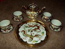 10 pc. Tea Set Pot cups GOLD Phoenix & Dragon Chinese Marked JIANGXI ZHEN PIN