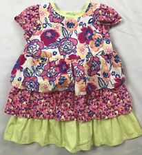 Hanna Andersson Size 80 (18-24 mos) Pink Floral Tiered Ruffle Short Sleeve Dress