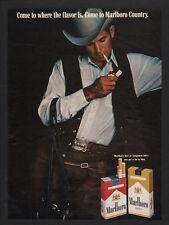 1970 MARLBORO Cigarettes - Cowboy Marlboro Man Smoking - Hat - Vest - VINTAGE AD
