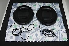 Two(2) 77mm Snap on Center Pinch Lens Cap Cover Protector & Lens Cloth Combo
