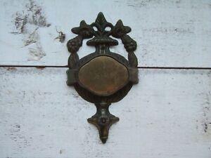 Vtg Metal Ornate Door Knocker Plaque Hardware Metal Architectural Salvage Oswald