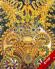 LOUIS WAIN ORNATE FLAMBOYANT YELLOW CAT PAINTING WILD PET ART REAL CANVAS PRINT