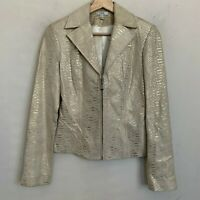Cache Womens Moto Leather Crop Jacket Beige Gold Multi Zip Front Lined Size 0