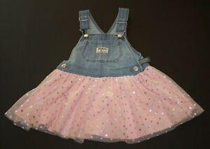 New OshKosh Girls Jumper Dress Layered Pink Skirt Overalls NWT 12m 24m 2T Silver