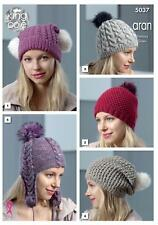 King Cole 5037 Knitting Pattern Womens Hats in Merino Blend Aran & Fashion Aran