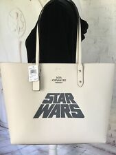 COACH STAR WARS NWT LEATHER TOTE BAG PURSE LARGE CHALK COLOR