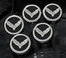 053013 White 2014-16 Z06/Z51/C7 Corvette Fluid Cap Cover 5Pc Set W/Flag Emblem