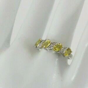 9ct Gold Diamond Yellow Sapphire Ring Band White Eternity NEW Hallmarked Size P