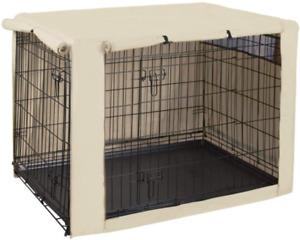 Double Door Dog Crate Cover Kennel Indoor Outdoor 42 Inches Pet Wire Cage Hug
