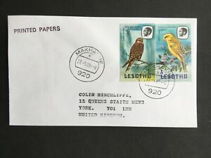 LESOTHO 1985 BIRDS COVER TO UK