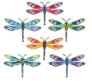 Garden Decor Colourful Metal Set of 6 Bright Metallic Dragonflies Wall Art 17cm