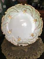 A Klingenberg Limoges 12 inch Plate-Antique -LIME GREEN with Gold Floral Decor