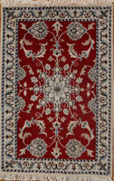 One-of-a-Kind Traditional Floral Nain HandKnotted Red 2x3 Wool Oriental Area Rug