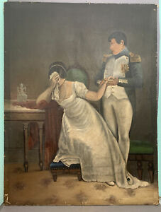 XL Antique OFFICER in MILITARY UNIFORM & CRYING Lady BRIDE Old COURT PAINTING