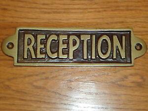 Reception Metal Plaque Hand Casted Black & Gold Sign -Shop Door