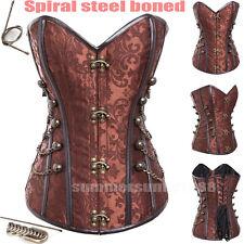 Sexy Women Spiral STEEL BONED Buckle-up Steampunk Corset Bustier Strong Tie up