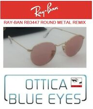 RAYBAN RB 3447 ROUND METAL REMIX Sunglasses Ray Ban Gold Pink Lens Unique 47mm