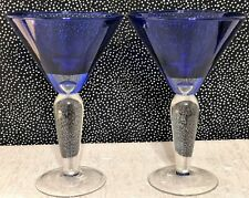 2 Waverly BIJOUX BLUE Cobalt Martini Glasses, Air Bubble, Clear Stem 7 & 1/2 in.