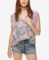 7a89687f7aafc6 We The Free People Floral Tropical Oversized Top Shirt Small Gray ...