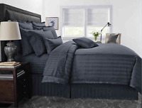 Wamsutta 500Thread Count Pima Cotton KING Comforter 3 Pc Set STRIPE DENIM