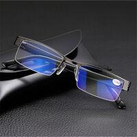 High quality Mens Half frame Style Blue Film Anti-radiation Reading glasses NEW