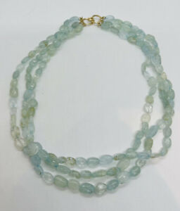 Maz Authentic 14k Yellow Gold Clasp Aquamarine Beaded Triple Strand Necklace