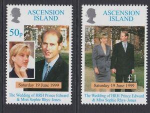 ASCENSION 1999 Royal Wedding MINT set sg774-775 MNH