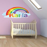 RAINBOW BABY PERSONALISED NAME WALL ART DECAL sticker boy GIRL nursery MURAL