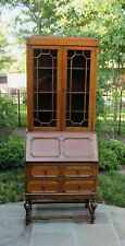 Antique English Tiger Oak Jacobean Fall Front Secretary Bookcase Desk Wavy Glass