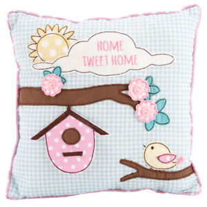 Gingham 'HOME TWEET HOME' Birds Cushion Birthday Christmas Present Gift