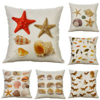 """Cotton Linen Home Decor Conch Print Cushion Cover 18"""" Sofa Pillow Case"""