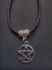 Negro Encerado Cable Pentagrama pentáculo Gargantilla / Collar Wiccano Pagano Gótico