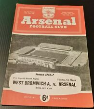 Arsenal v West Bromwich Albion F.A Cup 6th Rd Replay Programme 05/03/57