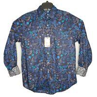 Robert Graham Sz M COLEFAX Blue Multi Color Paisley Flip Cuff Classic Fit $198