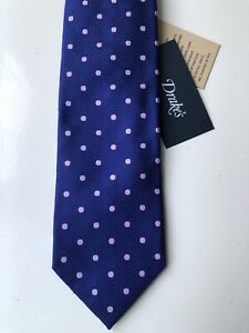 Drake's London 100% Silk Tie: 8cm Blue with Pink Polka Dots £145