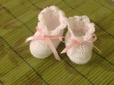 Crochet Baby Shoes Crochet Baby Booties Crochet Doll Shoes White and Pink Ribbon