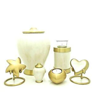 White Pearl Cremation Urn, Keepsake, Star, Heart and Tea light Urn, Engravable