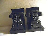 Pair Of Bookends Old Rotary Telephone Style Black Antiqued