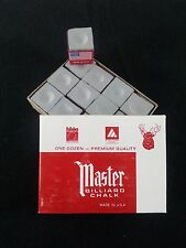 1 BOX ( 12 PIECES ) NEW GRAY MASTER CHALK PACK  - POOL & BILLIARD CUE CHALK