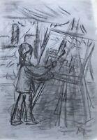 Zeichnung Skizze Studie Junges Mädchen Künstlerin Malerin Staffelei Pinsel