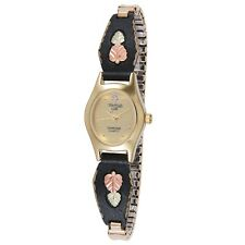 Black Hills Gold watch womens quartz analog with black band gold face