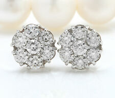 .75CTW Natural VS2-SI1 / G-H Diamonds in 14K Solid White Gold Stud Earrings